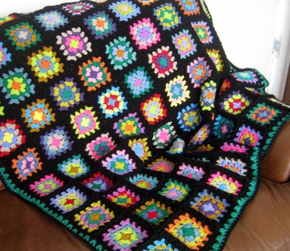 """Funky Granny Square Crochet Blanket Afghan In Stock 50"""" x 50"""""""