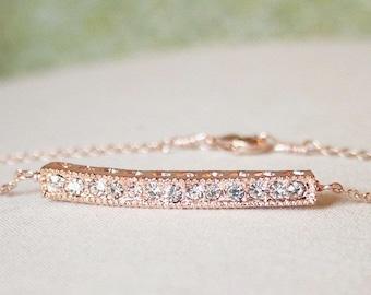 Handmade Rose Gold Bracelet Rose Gold Crystal Bracelet Rose Gold Bar Bracelet