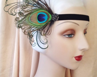 flapper headband in your choice of colors- black, burgundy, green or ivory stretch velvet headband and natural black brown or ivory feathers