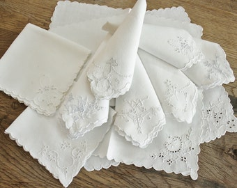 10 Sweet Mismatched Set Antique Embroidered Cutwork White on White Napkins