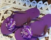 Bling bling flip flops, beach, wedding, purple, rhinestone flip flops,sandal, slipper, bridal shower