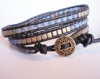 Blue Green Bracelet Bronze Wrap Leather Jewelry Beaded Bracelet