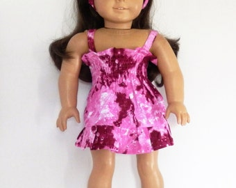 Pink Summer Dress with Headband and Shoes fits American Girl Doll Clothes 18""