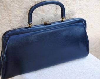 Vintage 1960's Navy Blue Hand Bag