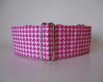 2 inch Martingale Collar, Pink Martingale Dog Collar, Houndstooth Martingale Collar, Houndstooth Dog Collar, Greyhound Martingale Collar