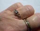 Vintage 10K Gold CZ Heart Ring Size 8.25