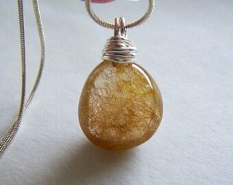 Gold Rutilated Polished Quartz Crystal Pendant