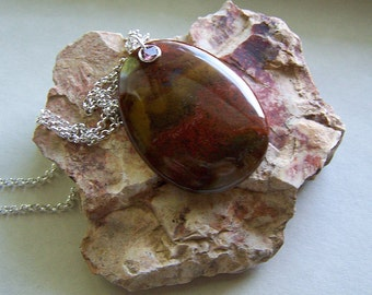 Red Flame Jasper and Ruby Spinel Gemstone Pendant
