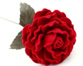 Red Wool Rose Leather Leaves Seventh 7th Wedding Anniversary Gift Stem Flower Valentine's Day 100% Merino Wool Anniversary Mother's Day Gift