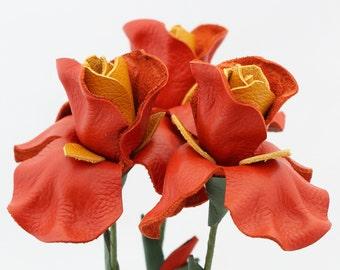 3 leather flower iris orange spring Wedding Third Anniversary Gift Long Stem Flower Valentine's Day 3rd Leather Anniversary Mother's Day