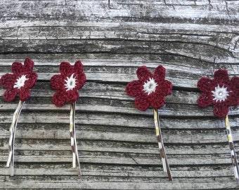 Crochet handmade crochet  hair accessories Bridal   flower hair pins   flowers  Hair decorations Hair flower pins