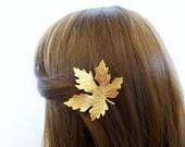 Wedding Hair Clip Maple Leaf Barrette Bride Bridal Bridesmaid Garden Autumn Fall Rustic Woodland Wedding Accessories Womens Gift For Her