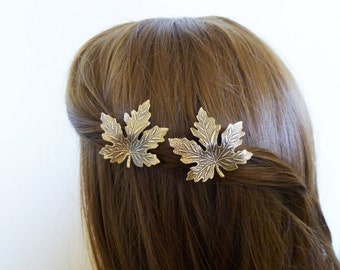 Autumn Wedding Accessories Maple Leaf Barrettes Fall Bridal Hair Clips Bride Bridesmaid Nature Garden Lover Girlfriend Womens Gift For Her