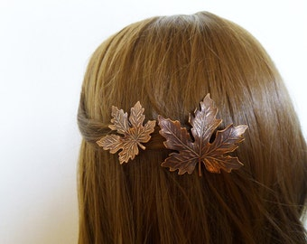 Copper Leaf Barrettes Bridesmaid Hair Clips Maple Leaves Bride Bridal Autumn Fall Rustic Woodland Wedding Accessories Womens Gift For Her