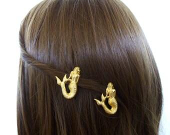 Mermaid Hair Clips Gold Barrettes Ariel Costume Beach Beachy Ocean Sea Nautical Fairytale Fairy Tale Girls Accessories Womens Gift For Her