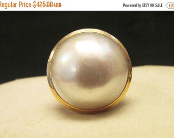 On Sale Vintage Estate 14K Large Pink Toned Mabe Pearl  Ring