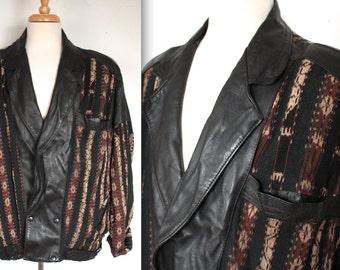 Vintage 1980's Leather Ikat Jacket // 80's Black Leather and Tribal Print Fabric Motorcycle Jacket // Kilim Ikat Southwestern Print