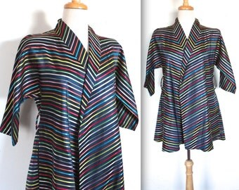 Vintage 1950's Jacket // 40s 50s Rainbow Striped Ribbon Taffeta Swing Jacket // Broadway Melody // DIVINE