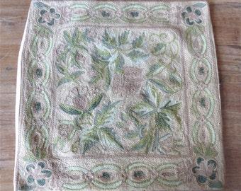 Vintage 1930's Embroidered Pillowcase // 20s 30s Art Nouveau Pastel Pink Floral Pillow // Throw Cushion Pillowcase