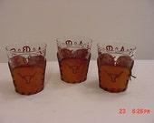 Three Vintage Western American Brands Drinking Glasses. Branding Iron    16 - 93
