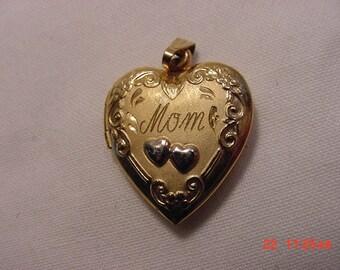 Vintage Mom 2 Picture Locket Pendant  1/20 14K Gold Filled   16 - 76