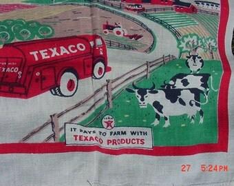 Vintage 1950's  Wonder Dri Texaco Products Dish Towel  16 - 117
