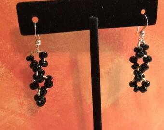 Black glass 6mm beaded earrings