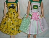 """Handmade 11.5"""" fashion doll clothes - Choose 1 - yellow or pink and green print dress"""