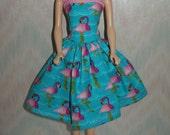 "Handmade 11.5"" Fashion doll clothes -aqua blue and pink flamingo dress"