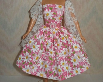 """11.5"""" Fashion doll clothes - handmade  dress and lace stole"""