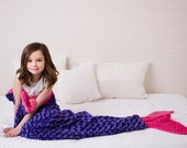 Mermaid Tail Blanket- Purple Hot Pink Blanket- Minky Mermaid Blanket- Mermaid Tail- Minky Bedding- Girls Bedding- Ships out in 1-3 Days