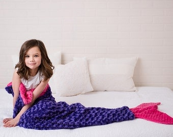 Mermaid Tail Blanket- Purple Hot Pink Blanket- Minky Mermaid Blanket- Mermaid Tail- Minky Bedding- Girls Bedding- Ships TODAY