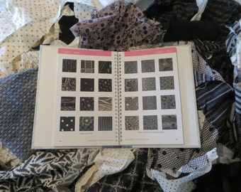 Antique 1800's Fabric Scraps-Pre Civil War-Doll-Dress-Quilt-Izannah Hitty-Black/White-Sewing-Quilting-Repair-Authentic