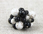 OUT OF TOWN - Black Cream Stone Cluster - Adjustable Cluster Ring - Black White Cream Brown Crackle Stone Silver Neutral Fun Cocktail Ring