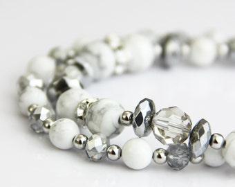 Classical White Marble Bracelet - White Gray Stone Swarovski Crystal Hematite Silver Bracelet - Classic Elegant Neutral White