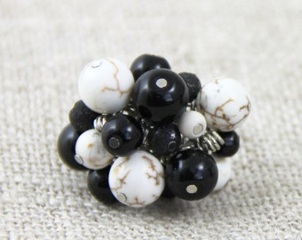 Black Cream Stone Cluster - Adjustable Cluster Ring - Black White Cream Brown Crackle Stone Silver Neutral Fun Cocktail Ring