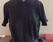 Vintage 1940s Blouse Black Ruched Fabric Designer's Shop-Chas. A Stevens & Co. Chicago