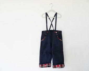 Vintage 1940s Jeans / 40s Jeans / 1950s Jeans 50s Jeans / 1940s Overalls 1950s Overalls / Denim Plaid / Child Size 5 Boys Girls Deadstock