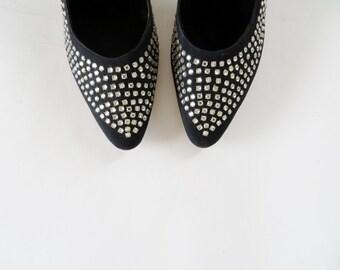 Vintage 1950s Dress Shoes / 1950s Shoes / 50s Shoes / 1950s Heels / Black Shoes / Rhinestone Sling Back Heels / Size 6