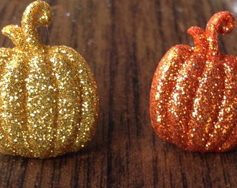 Whimsical Glitter  Pumpkin  Earrings - Fall Colors - Autumn Jewelry - Fall Jewelry-Thanksgiving- Halloween Jewelry PUMPKINS