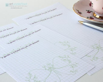 Note Paper PDF Vine Butterfly. An editable text PDF file that you personalize and print from home.