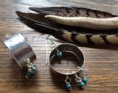 Wide metal hoop earrings, beaded wide metal hoops