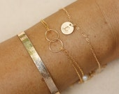Circle enternity bar bangle monogram best friends bracelet,circle initial bracelet,bar bangle bracelet,Silver or Gold