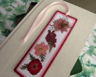 Bookmark With Red and Pink Pressed Flower Floral Collage Laminated