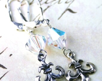 ON SALE Vintage Fleur-de-Lis Charm Earrings - Handmade with Swarovski Crystal and Sterling Silver