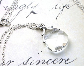 ON SALE Clear Crystal Necklace - Swarovski Crystal Briolette Pendant - Bridal Necklace - Sterling Silver and Swarovski Crystal