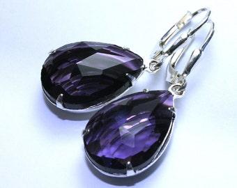 Purple Vintage Jewel Earrings - Sterling Silver Leverbacks - Amethyst Crystal Teardrop Earrings