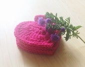Hot pink heart shaped cute drink coasters - set of 5 crocheted with 100% wool - great Valentine gift for her