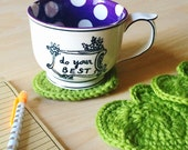 Apple Green heart shaped unique cute coasters - crocheted with 100% wool - set of 5