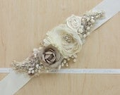 Floral belt, Wedding sash, Bridal sash, Floral sash, Champagne belts sashes,Wedding dress belt sash, Ivory, ecru